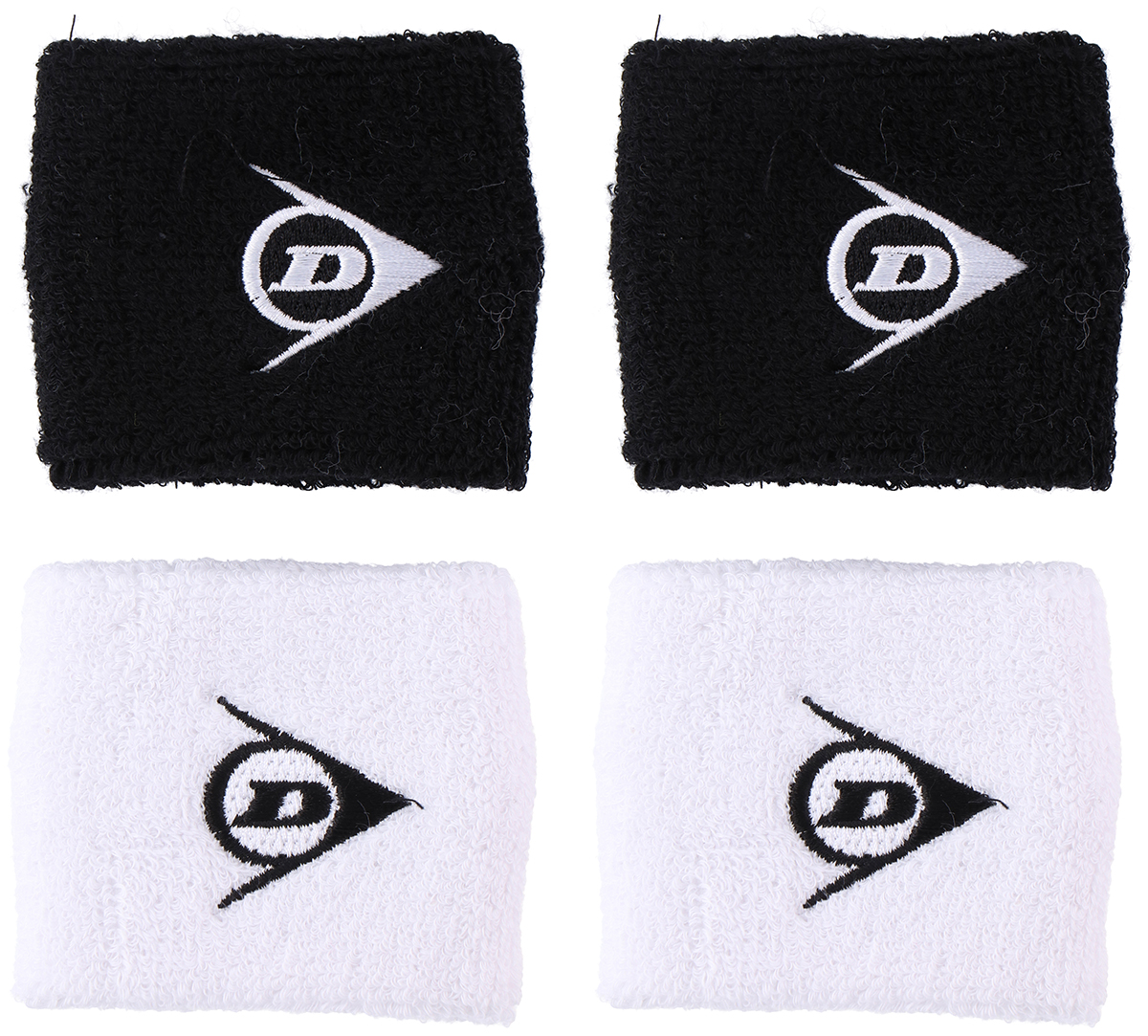 d1347424f5 Dry fit wristbands with Terry loop fabric that absorbs moisture. - Comes as  a pair in black or white with Dunlop logo. - One size fits all
