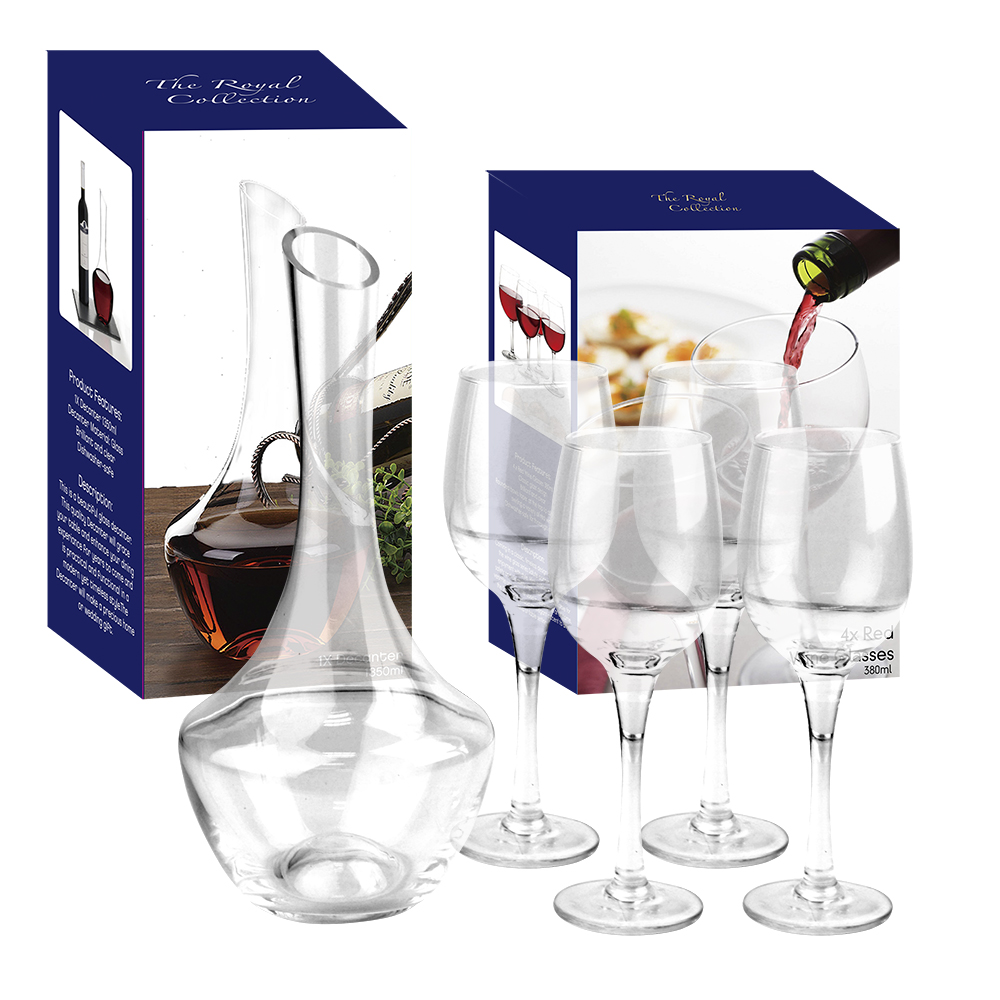 Royal Collection Kwarx Crystal Glass Decanter Amp 4 Red Wine