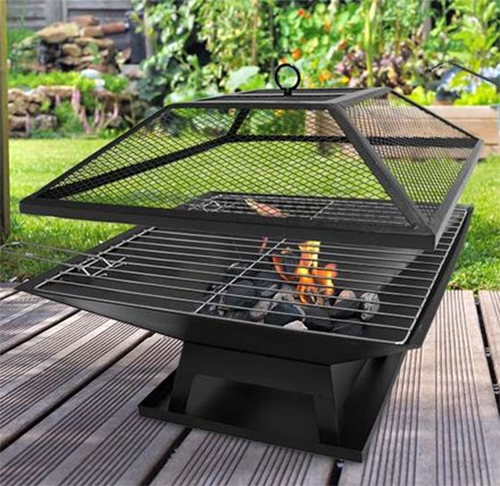 Square Fire Pit Bbq Grill Outdoor Garden Firepit Brazier