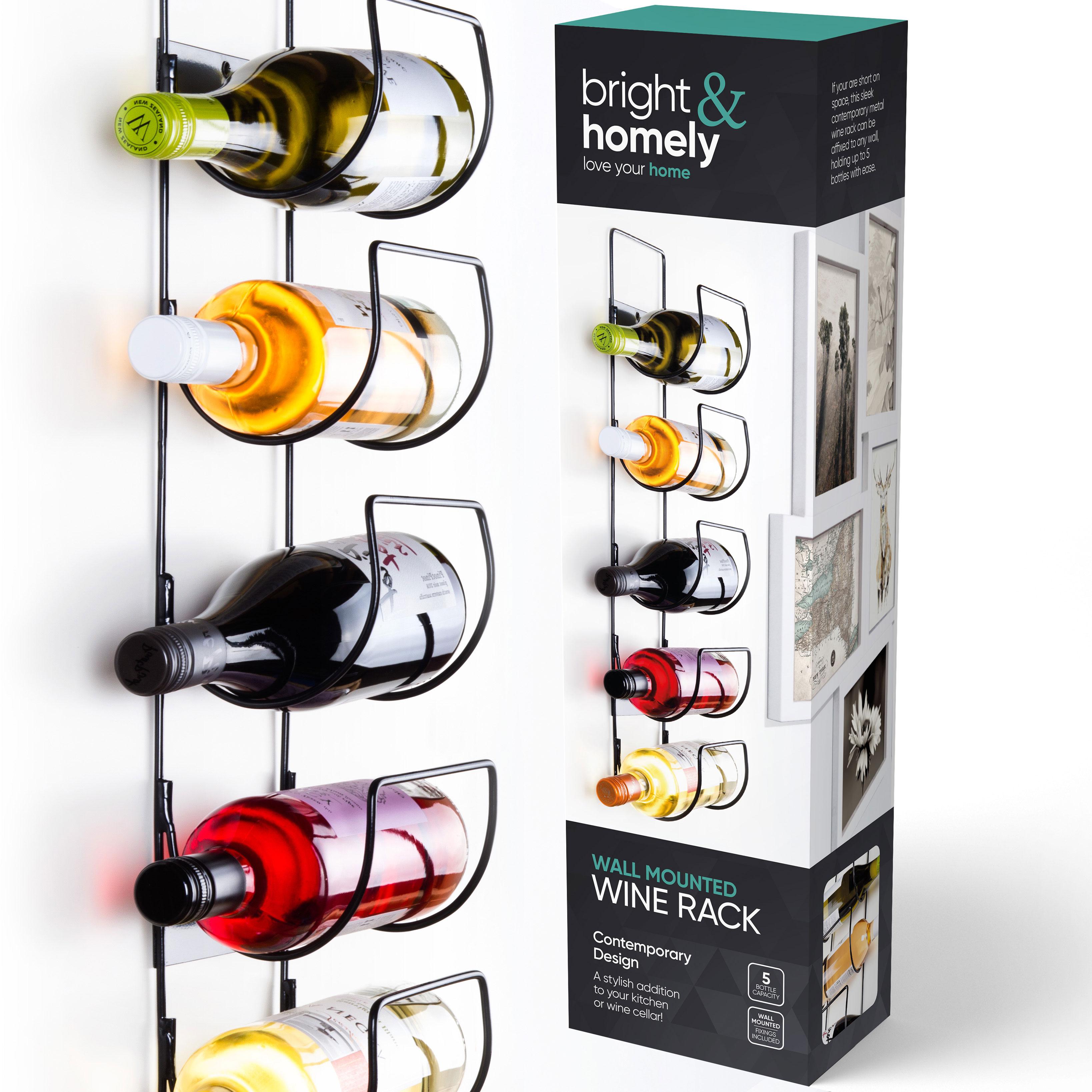 5 Bottle Wine Rack Black Metal Wall Mounted Storage Holder Shelf Kitchen Vine 5055512096909 Ebay