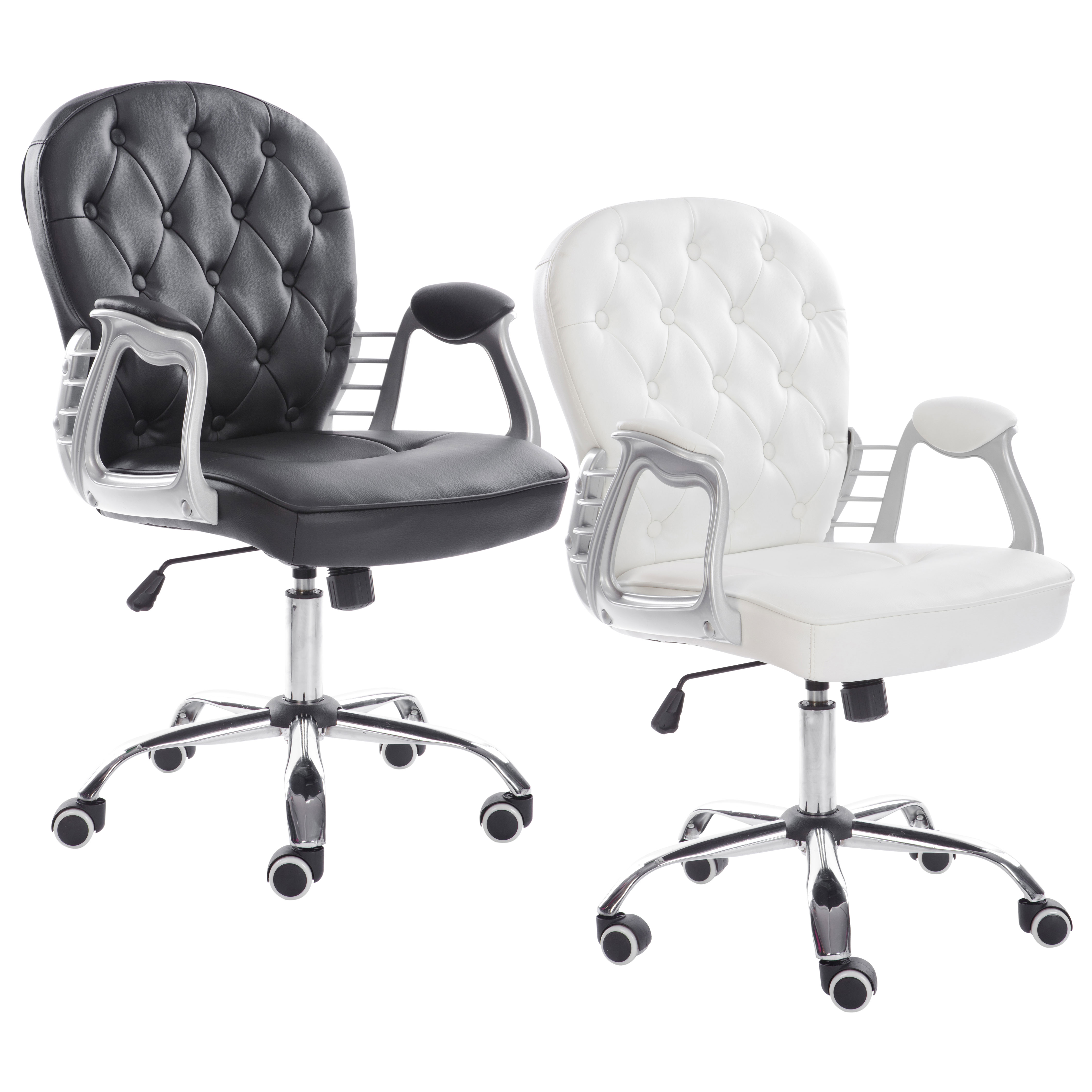 Details About Premium Retro Office Chair Black Or White Leather Armchair Gas Lift Chrome Base