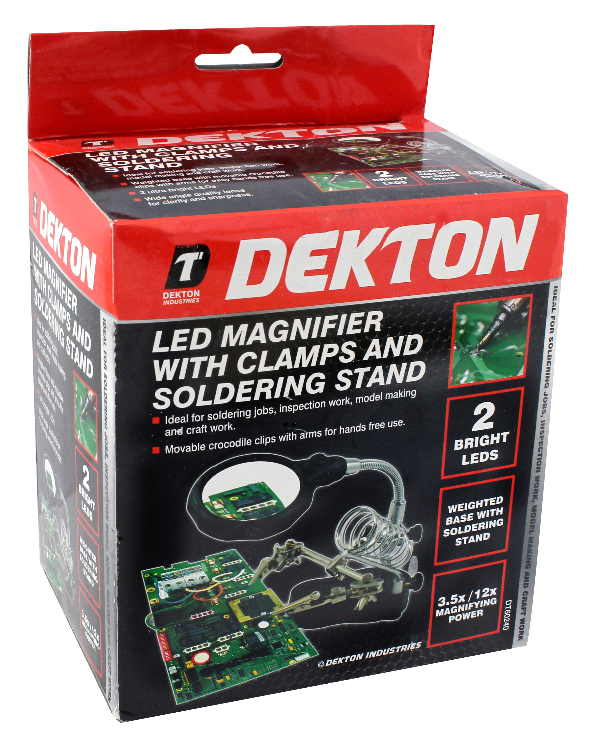 Dekton Helping Hand Soldering Iron Hobby Tool /& Clamps and Magnifying Glass
