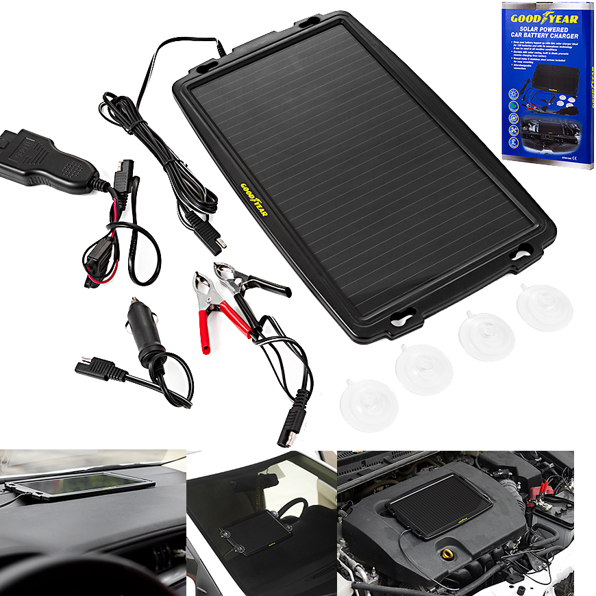Goodyear Solar Power Car Caravan Battery Trickle Charger Cigarette