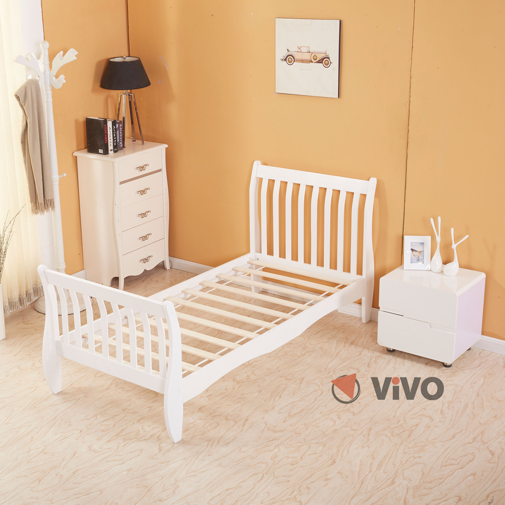 3ft single wooden sleigh bed frame pine bedroom furniture - White and wood bedroom furniture ...