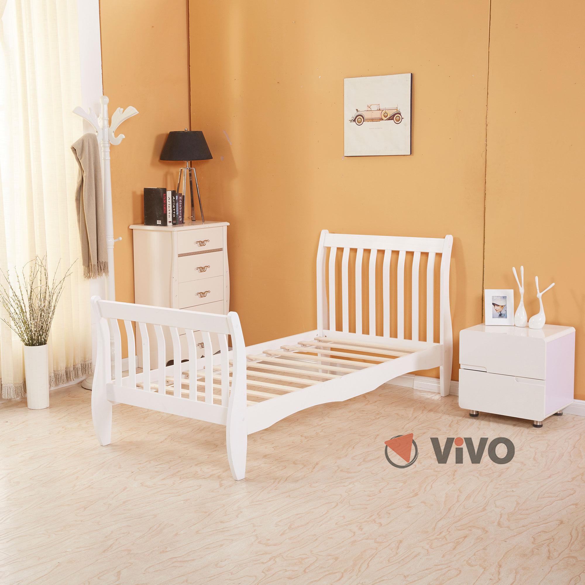 3ft Single Wooden Sleigh Bed Frame Pine Bedroom Furniture