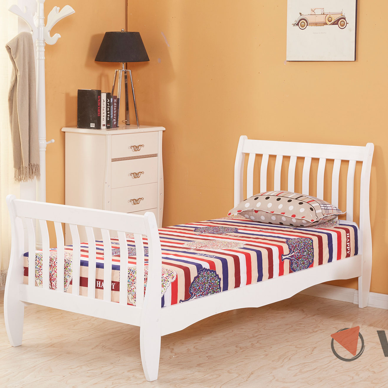 3ft Single Wooden Sleigh Bed Frame Pine Bedroom Furniture