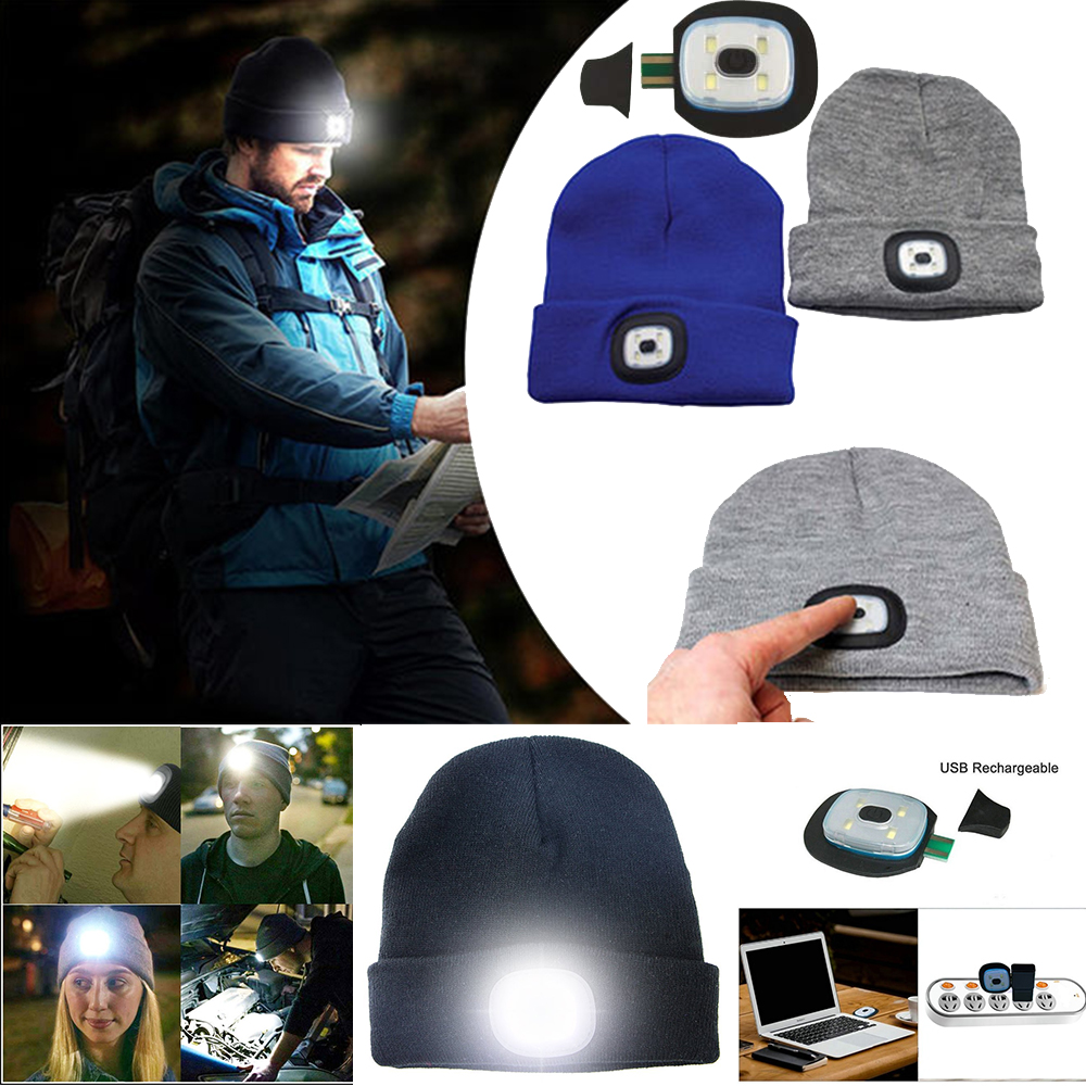 LED Beanie Hat With USB Rechargeable Battery Unisex High Powered Head Lamp LOT
