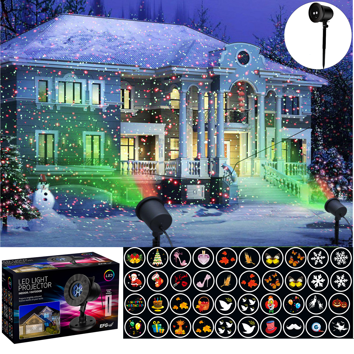 Christmas Projector.Details About Outdoor Led Lights Shape Star Projector Projected Christmas Xmas 12 Themes Laser