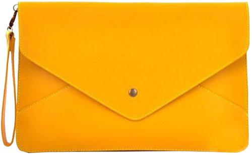 Ladies PU leather Envelope Business Bag Pouch Folio Document ...
