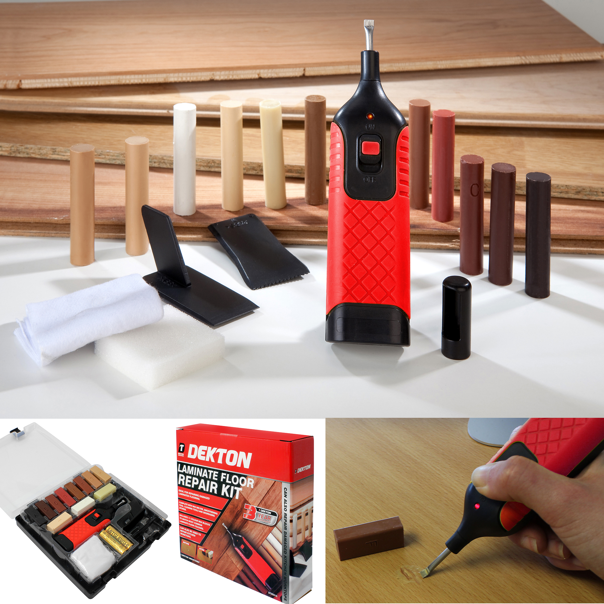 19pc Laminate Floor Worktop Repair Kit Wax System Sy Case Chips Scratches