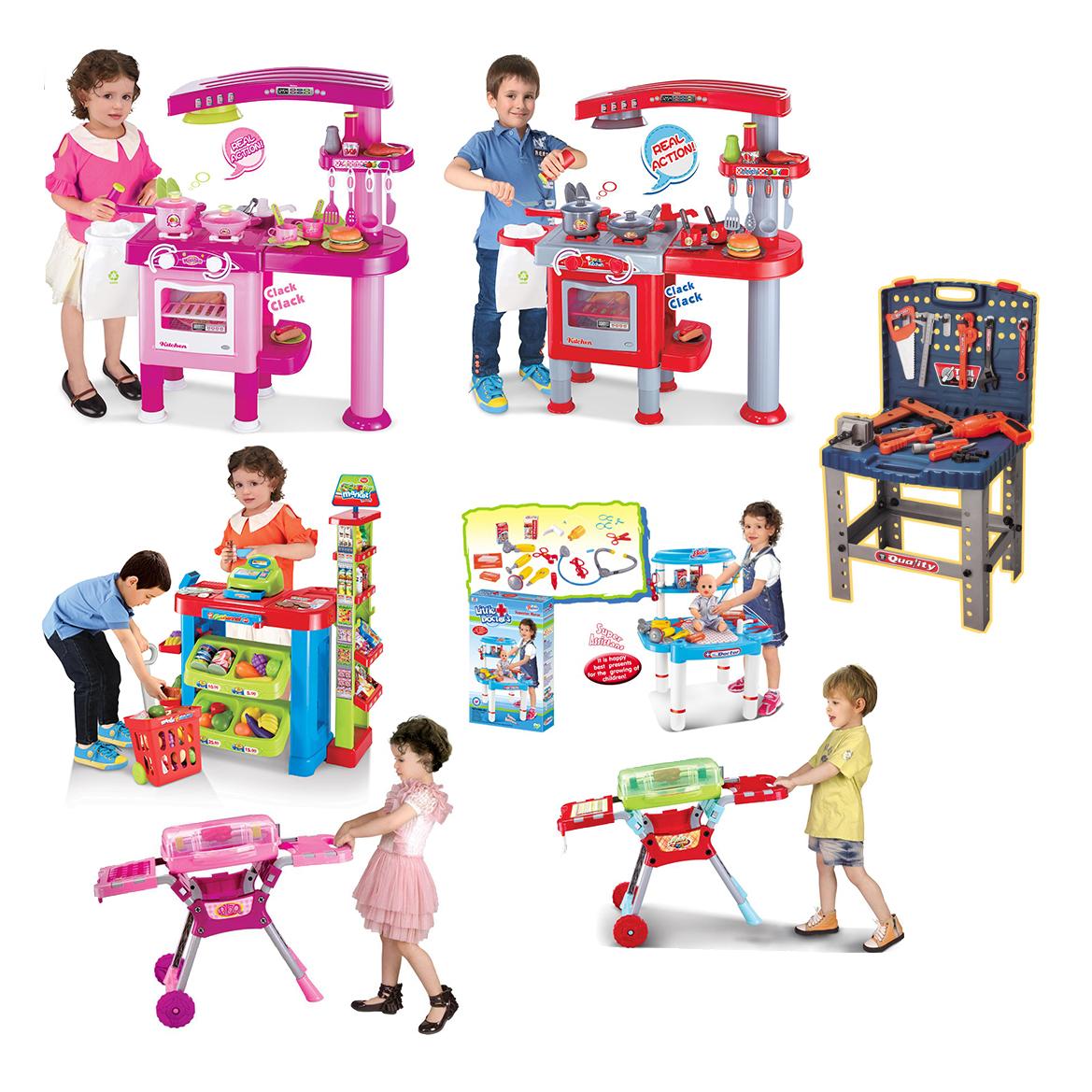 Children kids kitchen cooking doctor supermarket bbq play for Kitchen set 008 58