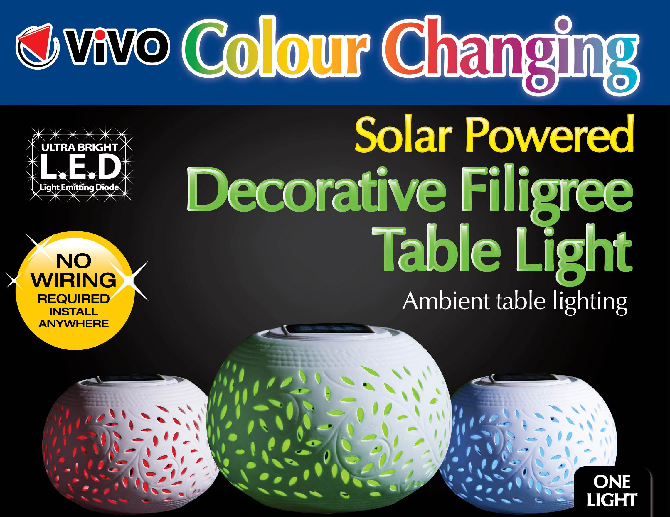 Colour Changing Decorative Solar Led Filigree Table Light Garden Wiring A Colours Patio Party New