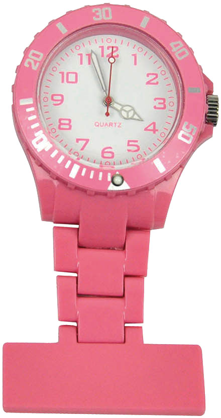 Coloured-Plastic-Nurses-Fob-Watch-Brooch-Ladies-Nurse-Uniform-Tunic-Free-Battery