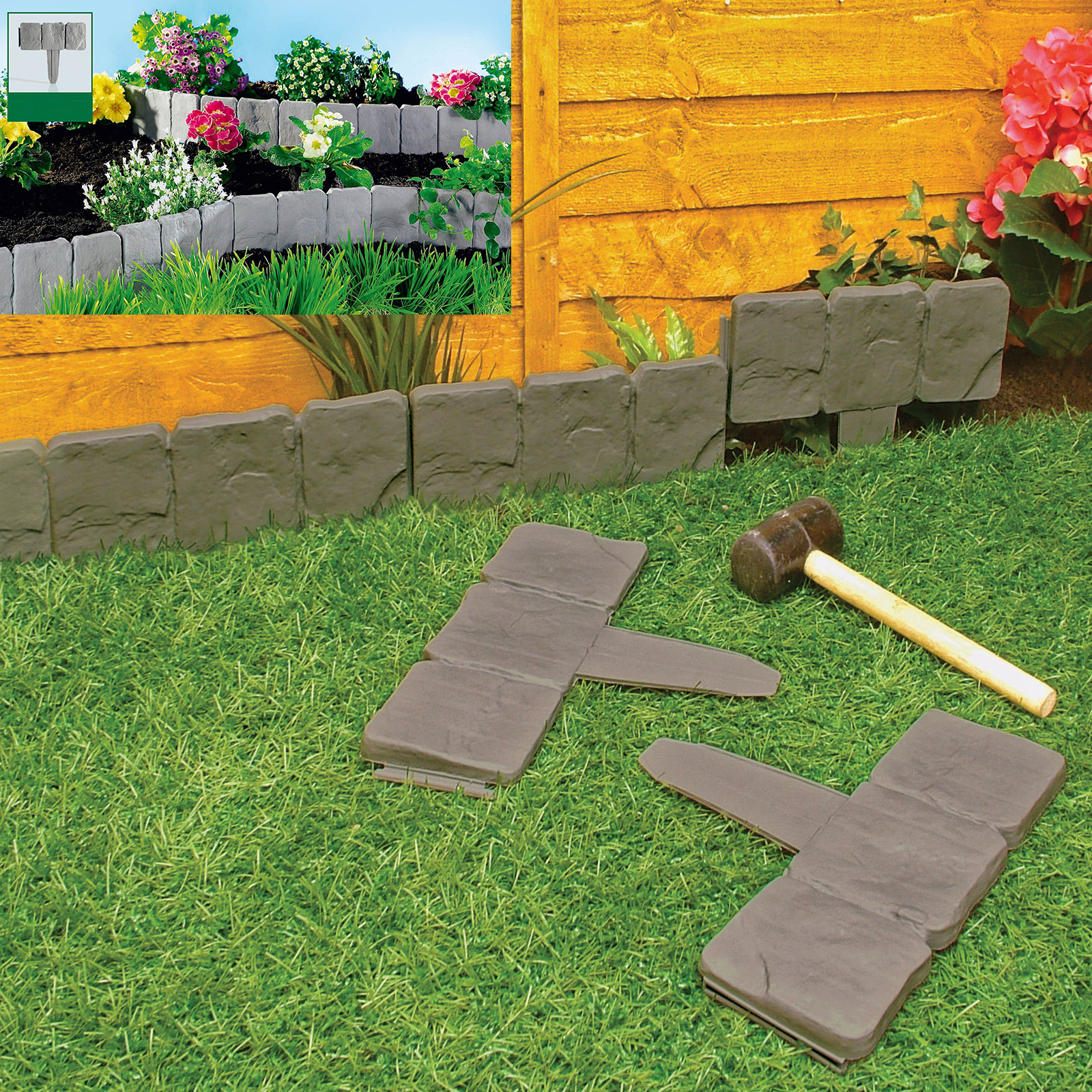 Details About Garden Lawn Edging Cobble Stone Plastic Plant Border 8ft 2 4m Fencing Hammer In