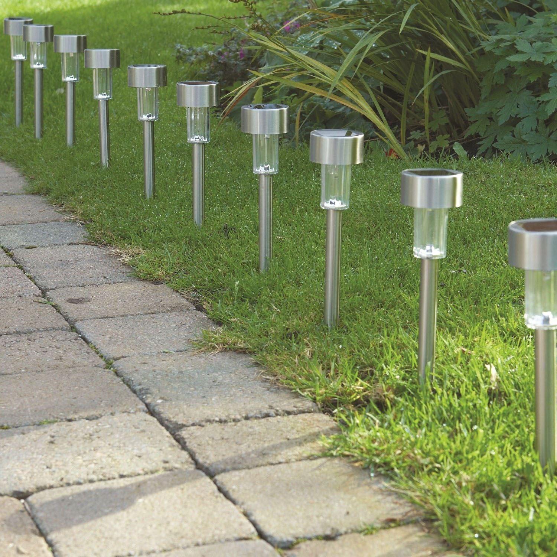 10 X Solar Powered Stainless Steel Led Post Lights Garden