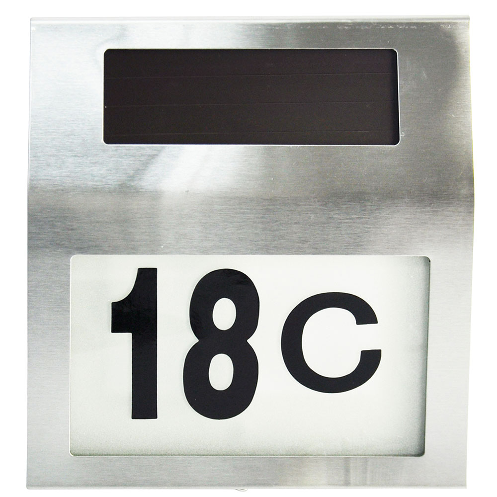 Solar powered led illuminated house door number light wall plaque modern sleek