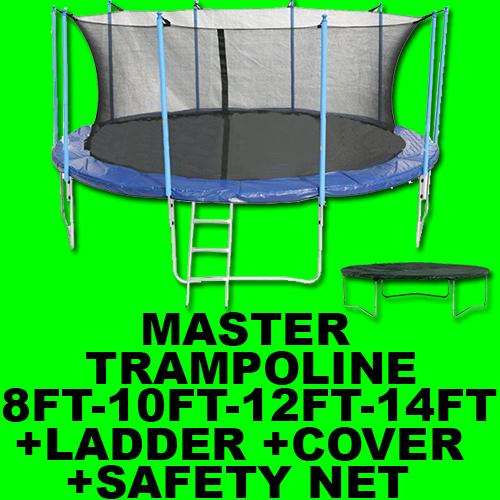MASTER TRAMPOLINE + SAFETY NET ENCLOSURE + LADDER + RAIN