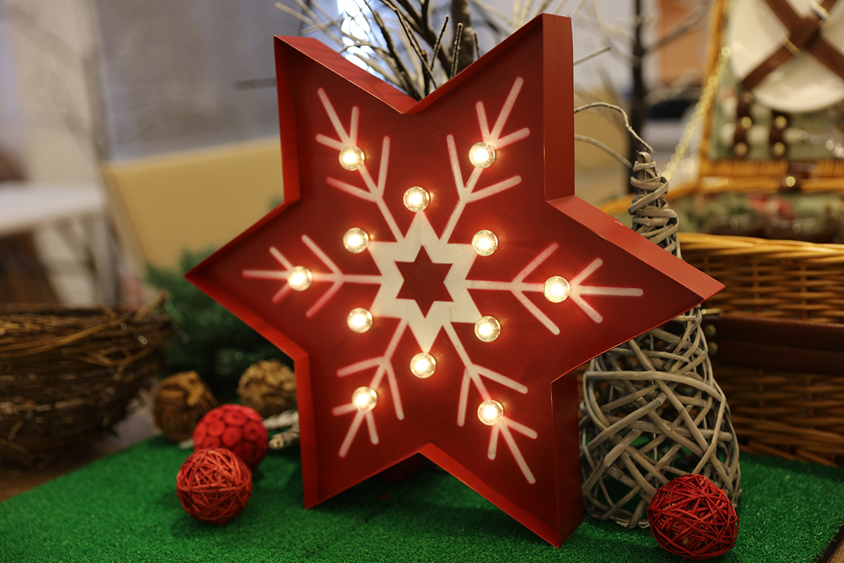 Christmas Snowflake Retro Vintage LED Light Hanging Sign Decoration Metal Xmas