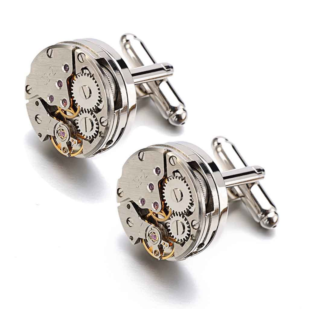 Steampunk Style Watch Movement Mens Silver Cufflinks Cuff Links