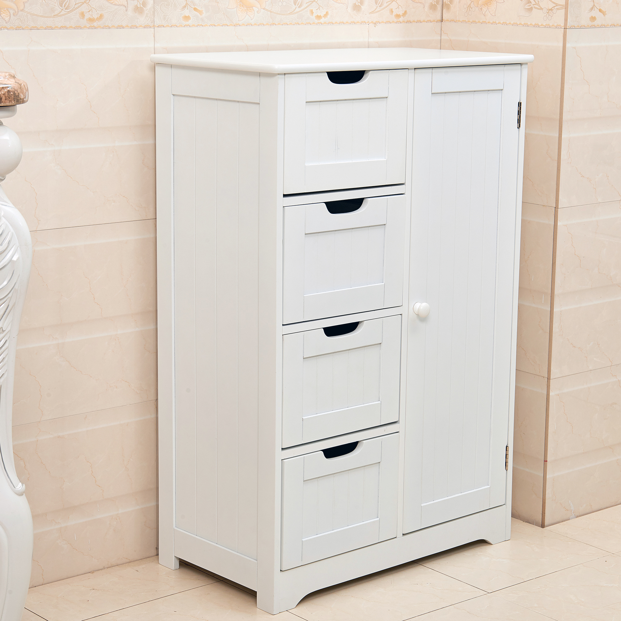 White wooden 4 drawer bathroom storage cupboard cabinet free standing unit bath ebay for White bathroom cabinets free standing