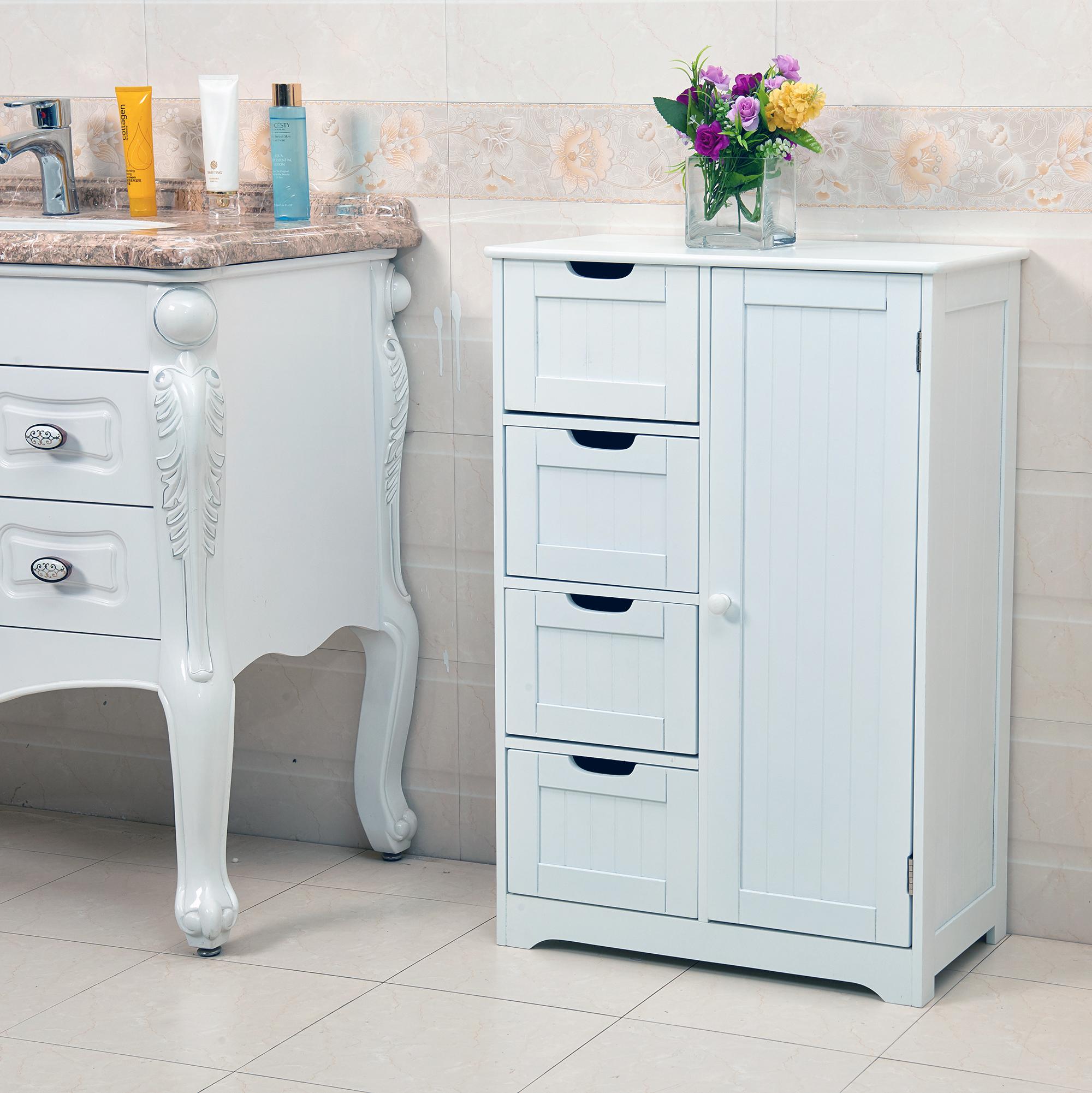 White Wooden 4 Drawer Bathroom Storage Cupboard Cabinet Free ...