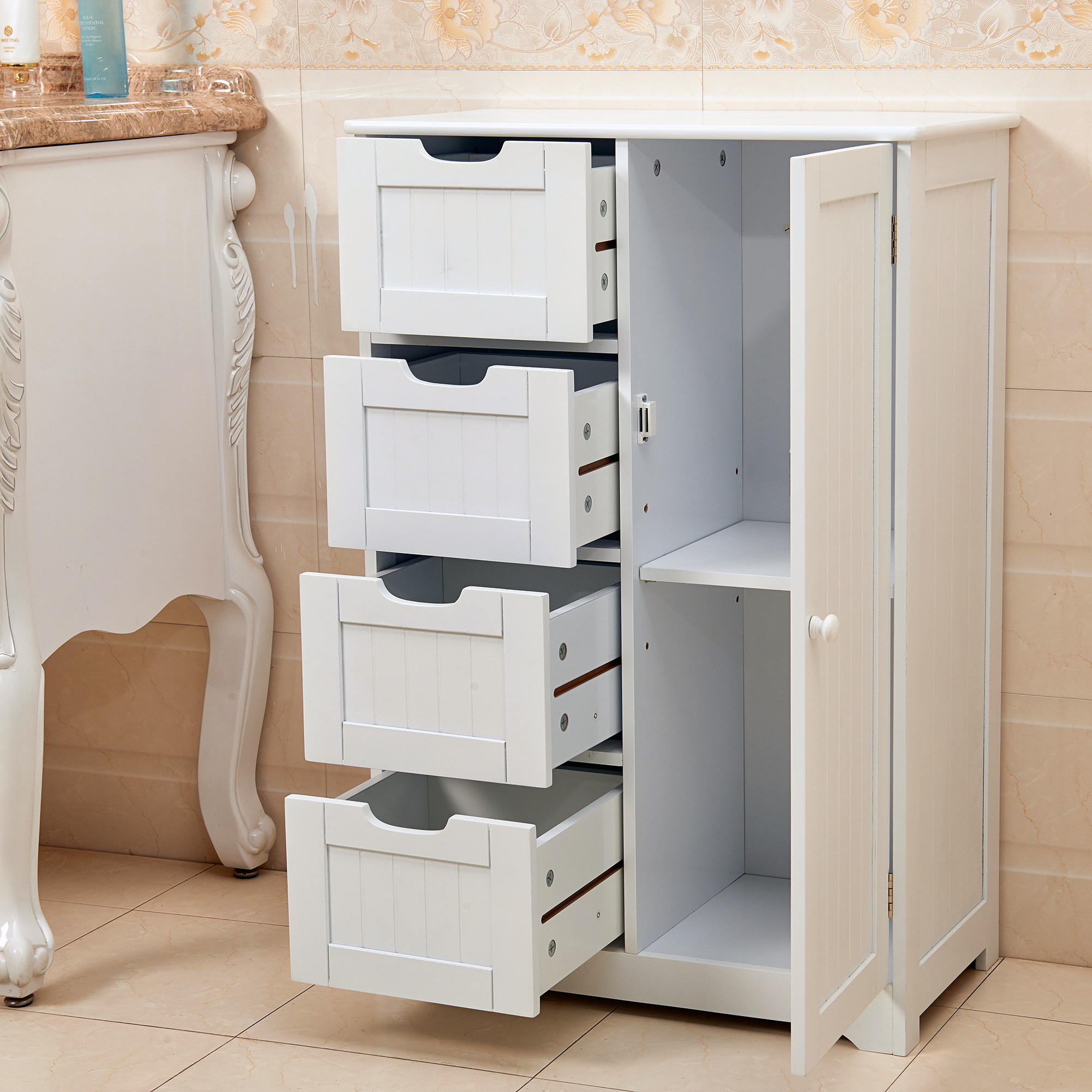 White wooden 4 drawer bathroom storage cupboard cabinet for White wooden bathroom drawers
