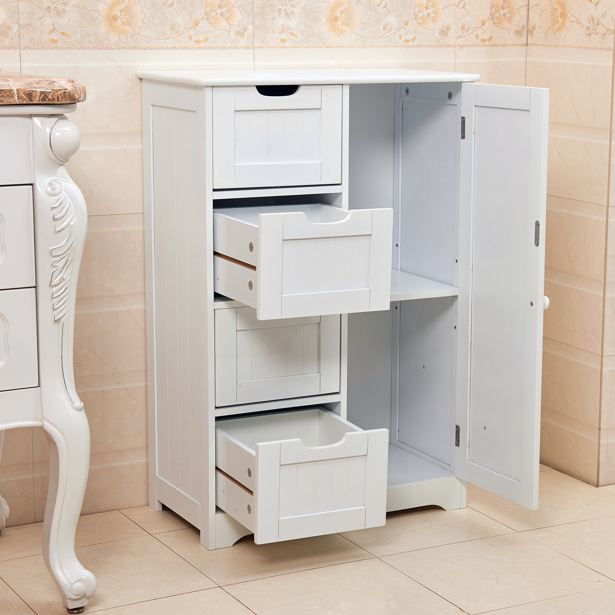 storage bathroom cabinets white wooden 4 drawer bathroom storage cupboard cabinet 14579