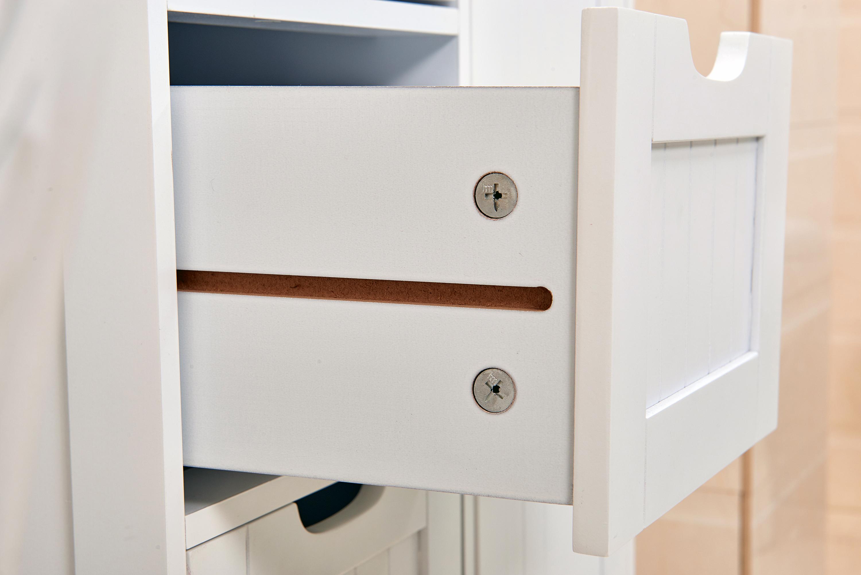 White wooden drawer bathroom storage cupboard cabinet