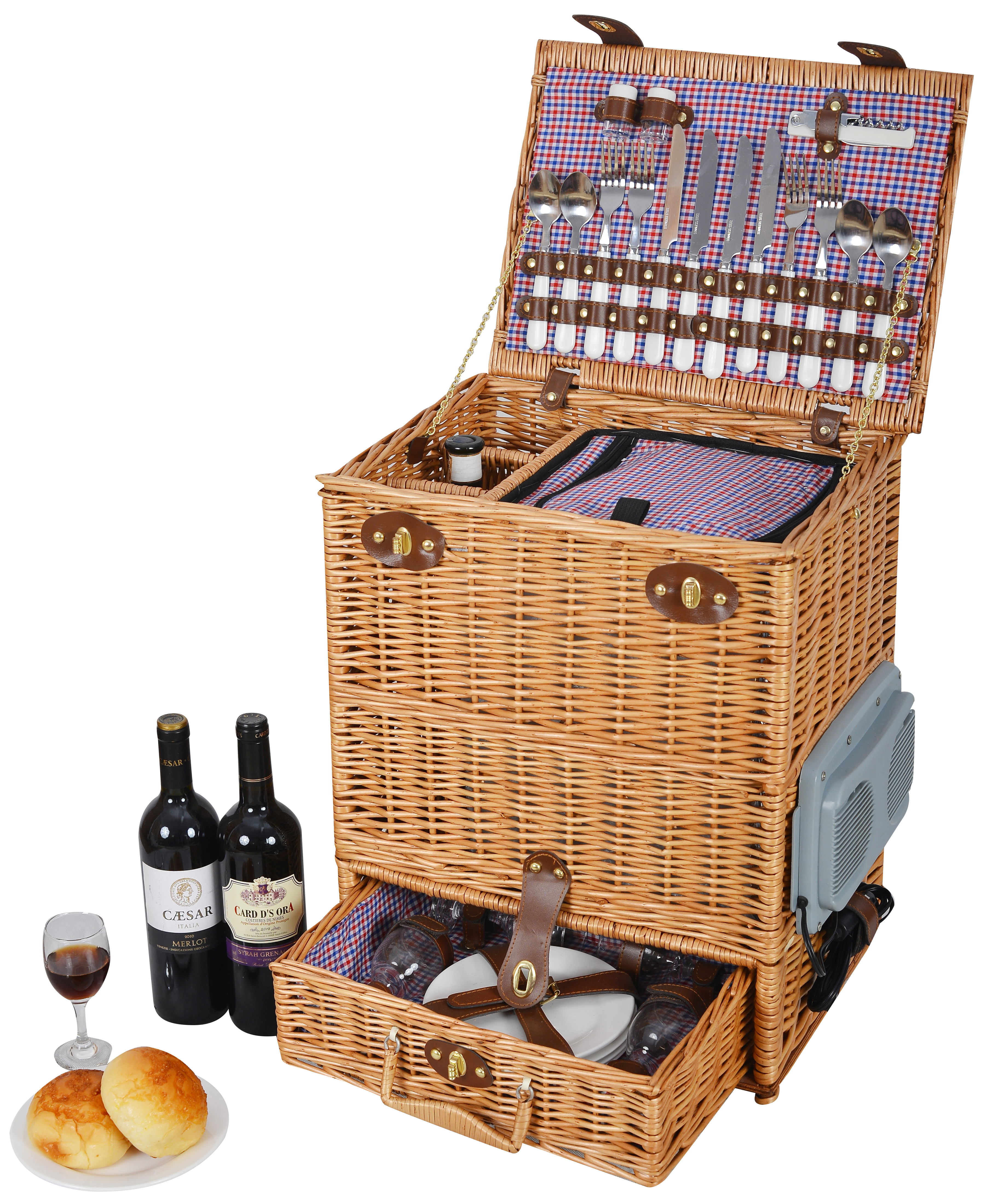 Luxury 4 Person English Wicker Willow Picnic Basket ...