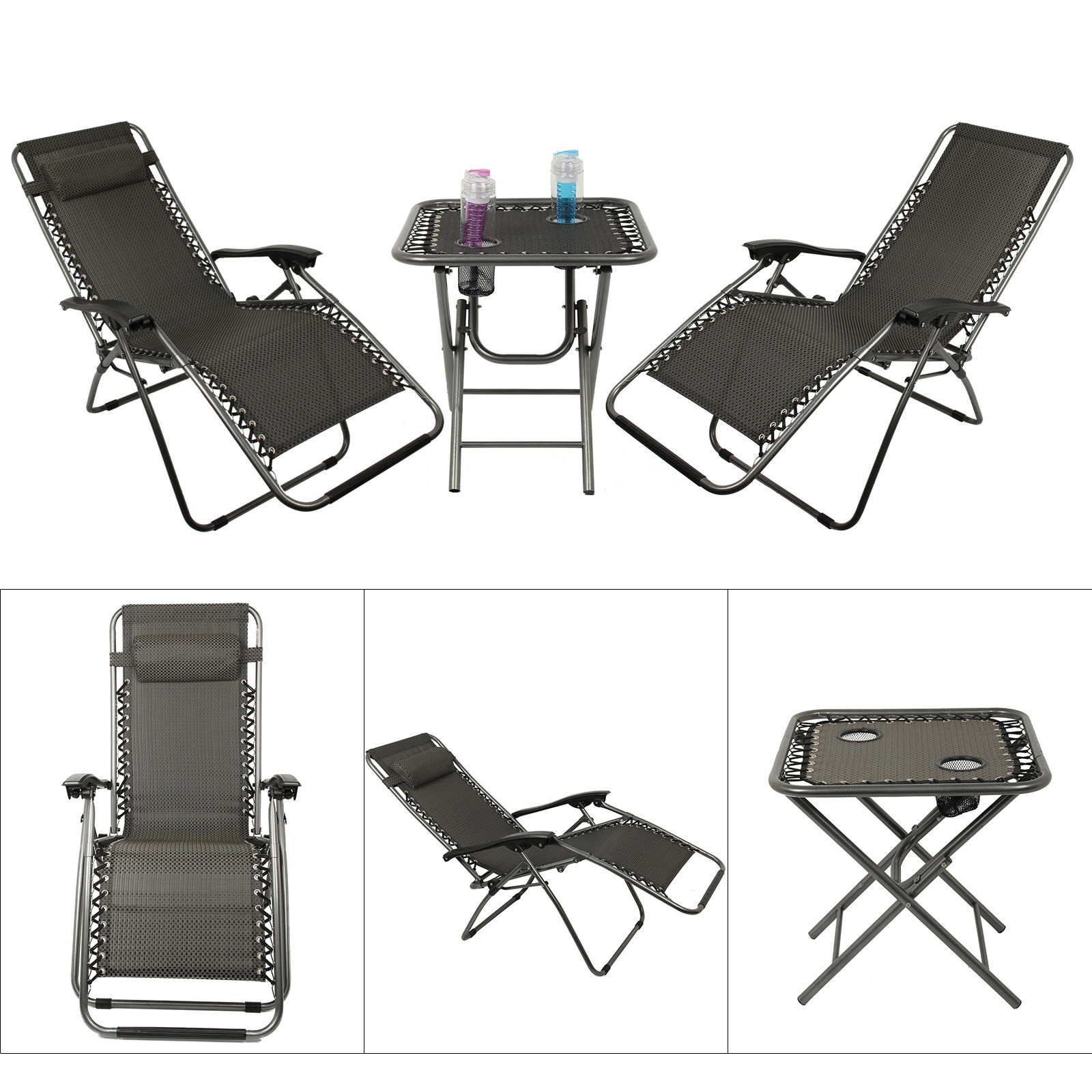 3 Piece Garden Furniture Set Outdoor Reclining Lounger Chairs
