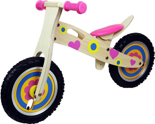Kids Boys Girls Wooden Balance Bike Scooter Wood First Ride