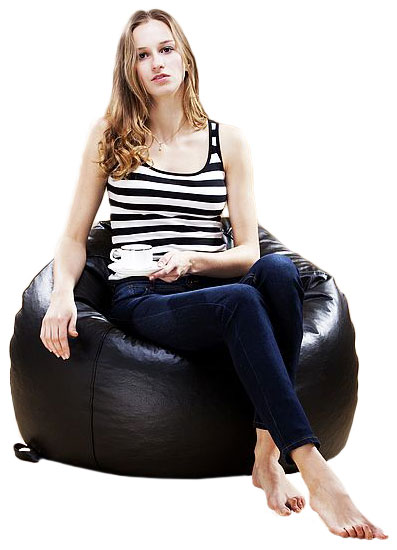 XXL EXTRA LARGE ROUND BEANBAG CHAIR BLACK BROWN LEATHER BEAN BAG