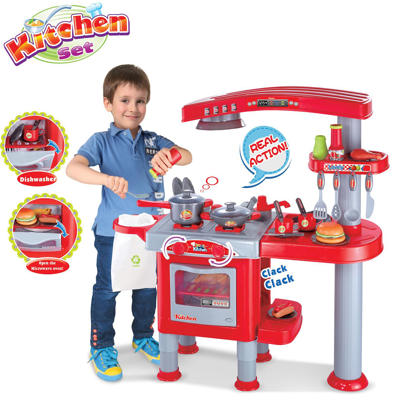 Boys Blue Kitchen Cooking Play Set Playset Learn Fun