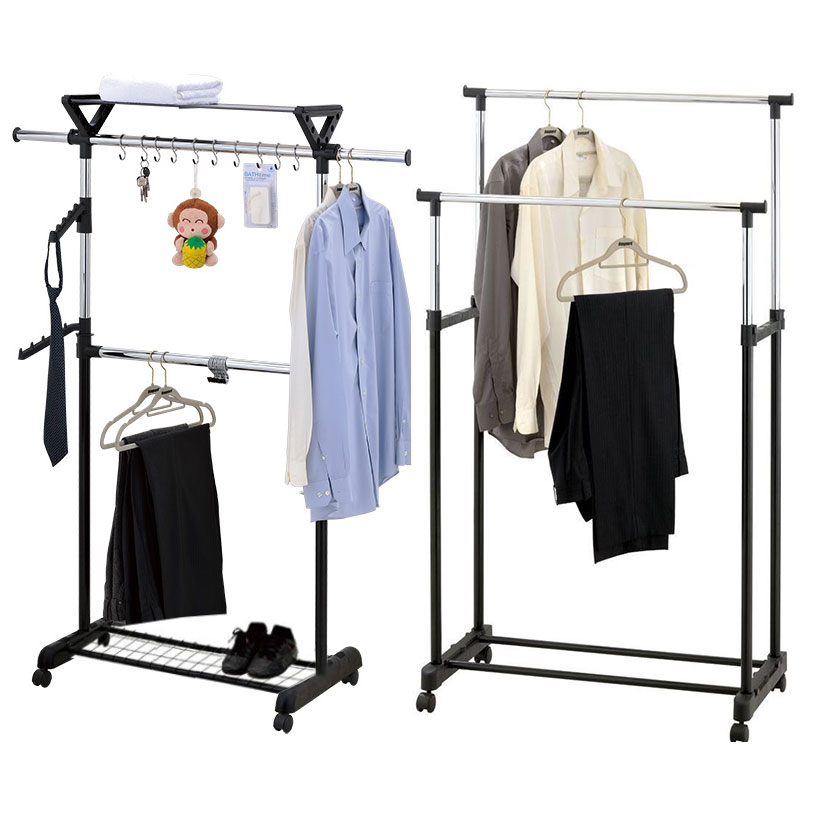 Adjustable Clothes Coat Garment Hanging Rail Rack Storage