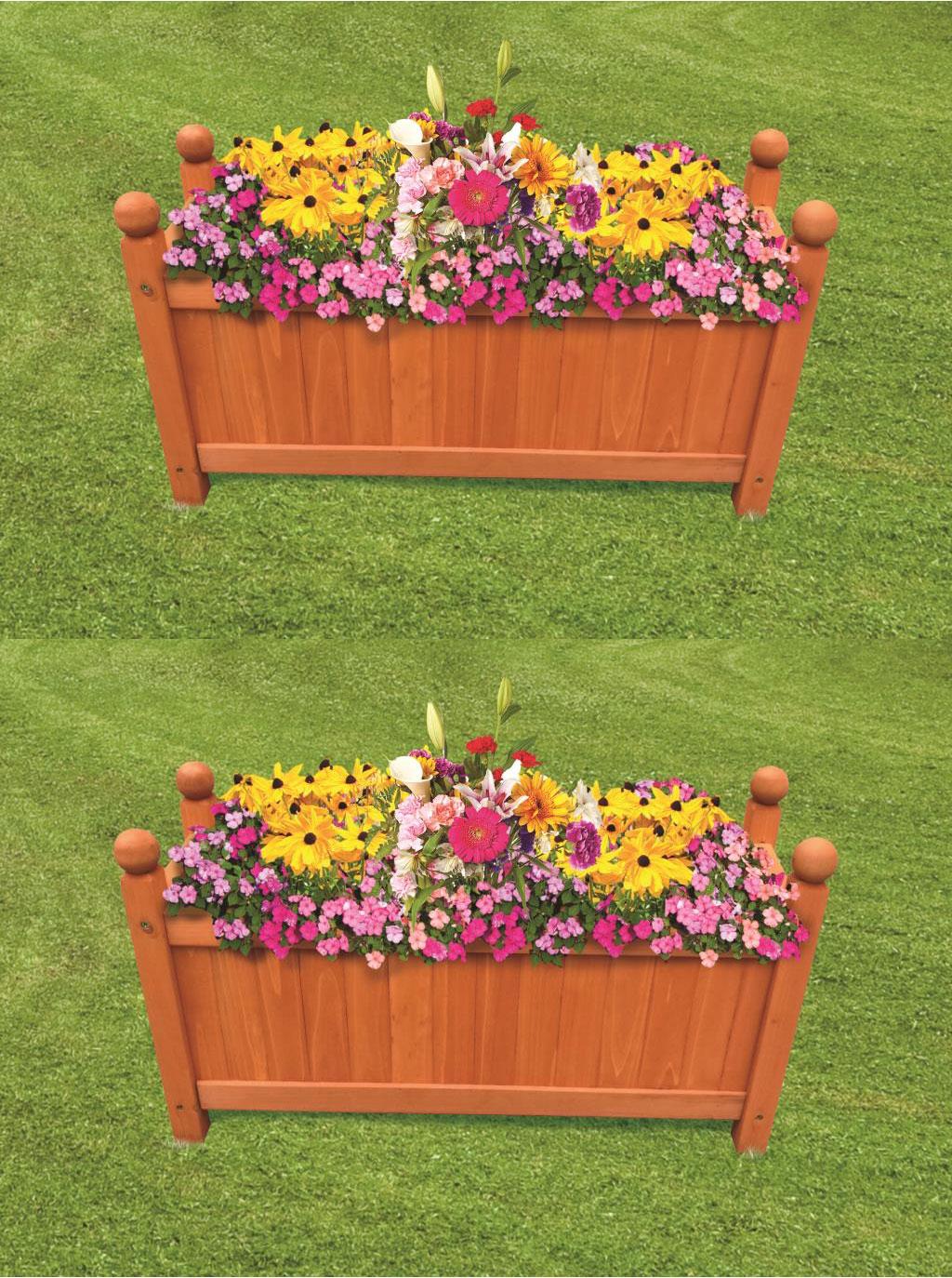 Wooden Garden Planters Outdoor Plants Flowers Pot Square
