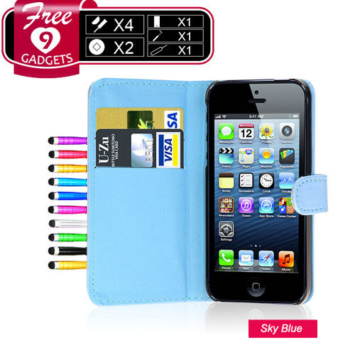 Wallet Flip Leather Case Cover Pouch For iPhone 5 5s Screen Protector Stylus