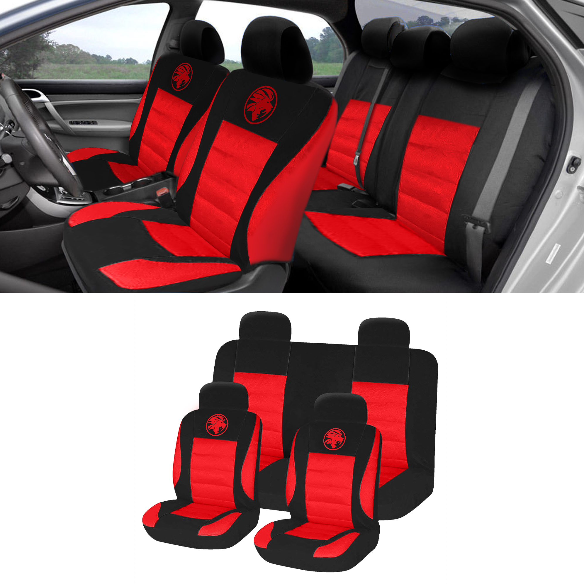 8pc Universal Car Seat Covers Set Protectors Washable Dog Pet Front Rear Red