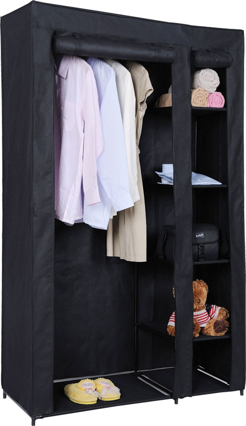DOUBLE-CANVAS-WARDROBE-RAIL-CLOTHES-STORAGE-CUBPBOARD